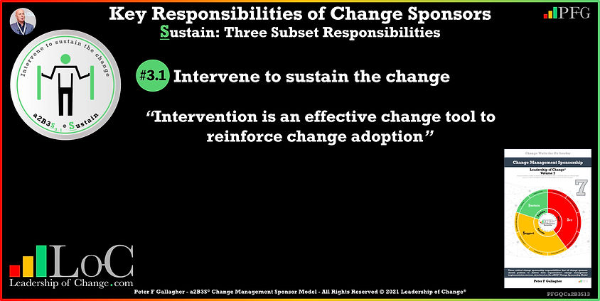 Change Management Sponsorship, Sponsor Communicate Constantly, sponsor Intervene to sustain the change, Sponsor Intervention is an effective change tool to reinforce change adoption, Peter F Gallagher Change Management Experts Speakers Global Thought Leaders, Peter F Gallagher Change Management Expert Speaker Global Thought Leader, change sponsorship, leadership of change,