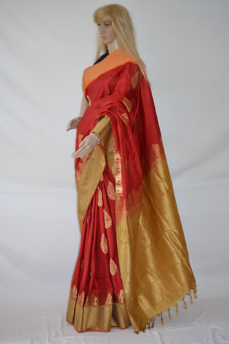 Red Orange and gold zari silk Banarasi