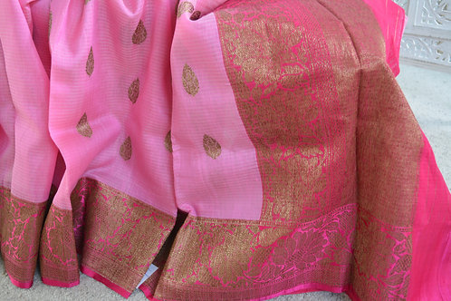 Baby Pink with dark pink Banarasi hand-loom Linen silk