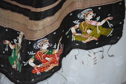 Black and Beige tussar pattachitra stole