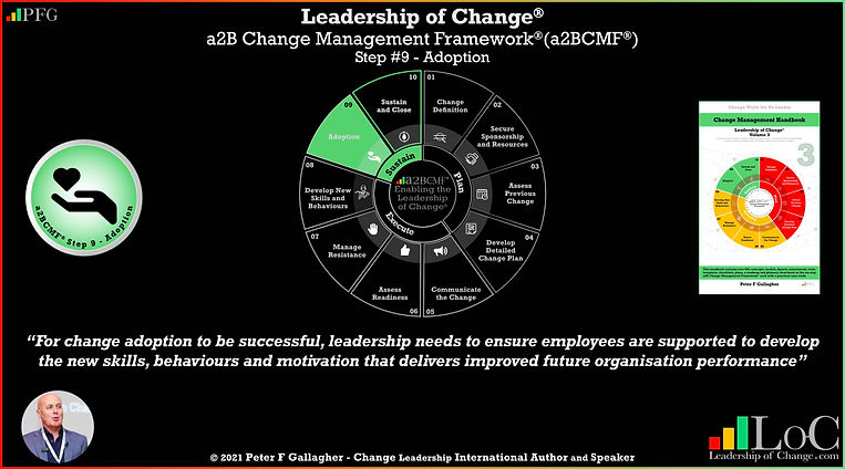 a2BCMF step quote 9 leadership of change, change management framework, change management quote, for change adoption to be successful leadership needs to ensure employees are supported to develop the new skills, behaviours and motivation that deliver improved future organisation performance, Peter F Gallagher change management expert speaker global thought leader, effective change manager handbook, change handbook,