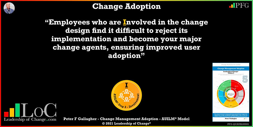 "Change Management Adoption Quotes, Change Management Quote Peter F Gallagher, ""Employees who are involved in the change design find it difficult to reject its implementation and become your major change agents ensuring improved user adoption"" ~ Peter F Gallagher Change, Peter F Gallagher Change Management Expert Speaker and Global Thought Leader,"