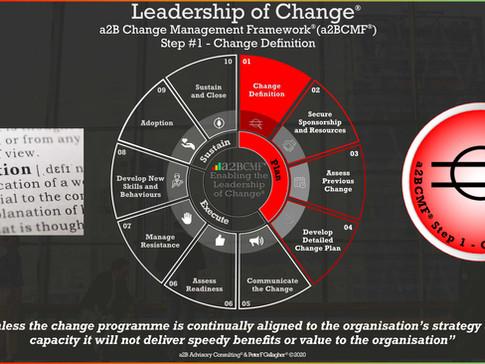 a2B Change Management Framework® (a2BCMF®) - Step #1: Change Definition