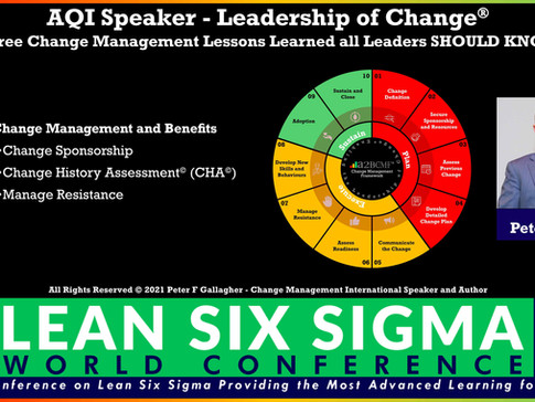 AQI LSS World Conference: 24 - 25 March 2021 - Peter F Gallagher Speaking on Leadership of Change