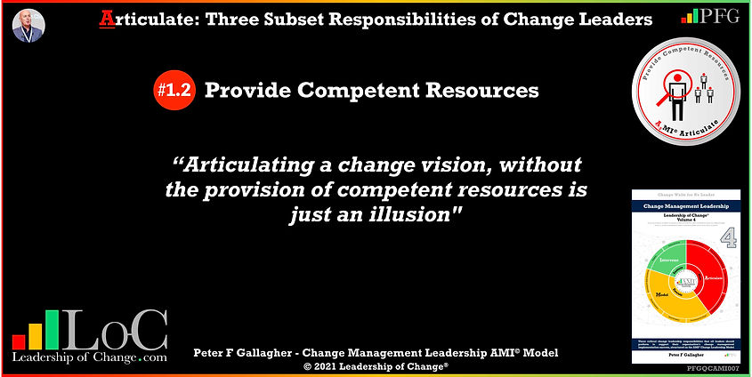 Change Management Leadership Quotes, Change Management Quotes Peter F Gallagher, Provide Competent Resources, articulating a change vision, without the provision of competent resources is just an illusion, Peter F Gallagher Change Management Expert Speaker and Global Thought Leader, change management experts speakers authors global thought leaders, leadership of change, change management quotes, change leadership,