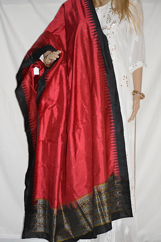 Sambalpuri silk Maroon and black Kumbha traditional dupatta