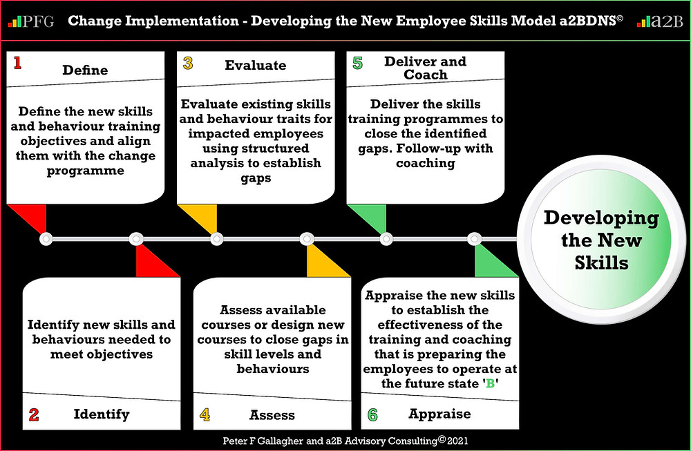 Change Implementation - Developing the Employee's New Skills a2BDNS Model, six step process to develop the new skills for the new way of working: Define Identify Evaluate Assess Deliver & Coach and Appraise, Peter F Gallagher change management expert speaker global thought leader, change management experts speakers global thought leaders, leadership of change, change manager handbook, change management book, change management pocket guide,