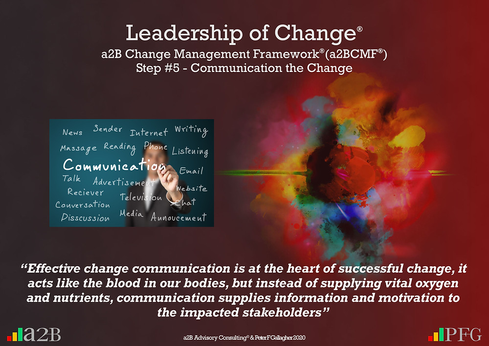 "Change Management, Change Management Communication, Change Management Framework (a2BCMF) – Step 5, ""Effective change communication is at the heart of successful change, it acts like the blood in our bodies, but instead of supplying vital oxygen and nutrients, communication supplies information and motivation to the impacted stakeholders."" ~ Peter F Gallagher, Peter F Gallagher, PeterFGallagher.com, Change Management Model, Peter F Gallagher Speaker, a2B Change Management Framework, a2B AUILM, a2B AUILM Employee adoption model, a2BBIS, a2B5R® Employee Behavioural Model, a2B5R, a2BCMF, a2B AUILM, Peter F Gallagher Author of ""The Leadership of Change"", The Leadership of Change – volume 1, The Leadership of Change Fables, #LeadershipOfChange, Enabling the leadership of change, a2B Advisory Consulting, www.a2B.consuling, Peter F Gallagher Change Management Expert, Sarah L Gallagher,"