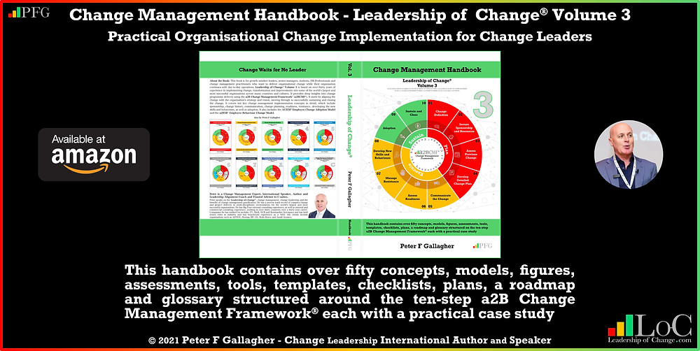 change management handbook, Peter F Gallagher, change management book, change management handbook leadership of change volume 3, Peter F Gallagher change management expert speaker global thought leader, change management experts speakers global thought leaders, if more employees were better leaders of change, the organisational benefits would be endless, change management leadership, leadership of change, change management glossary,
