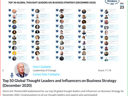 #2 Global Thought Leader and Influencers on Business Strategy Dec 2020 - Peter F Gallagher