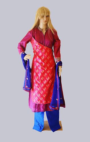 Designer Purple Pink Blue silk suit set