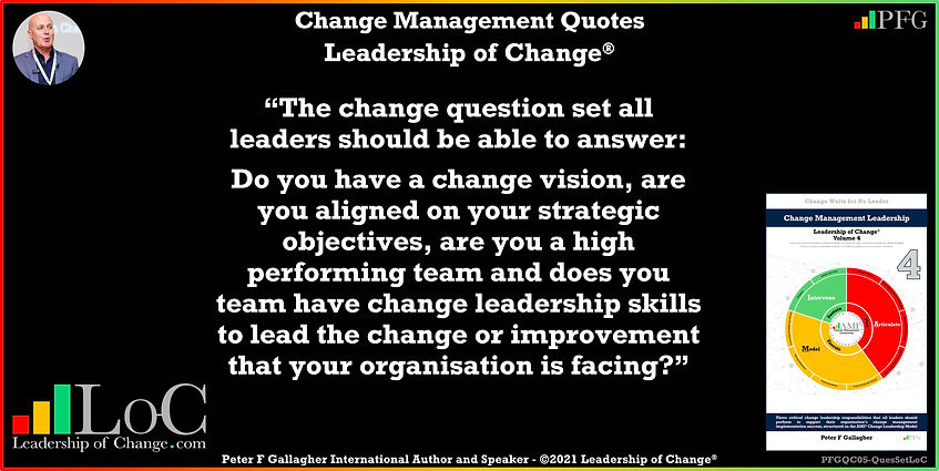 Change Management Quote, Change Management Quotes, The change question set all leaders should be able to answerDo you have a change vision, are you aligned on your strategic objectives, are you a high performing team, Peter F Gallagher Change Management Expert Speaker and Global Though Leader, Change Management Experts Speakers and Global Though Leaders, Leadership of Change,