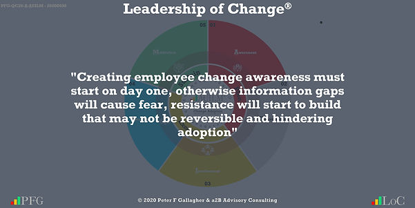 """Change Management Quotes, Change Management Quotes Peter F Gallagher, """"Creating employee change awareness must start on day one, otherwise information gaps will cause fear, resistance will start to build that may not be reversible and hindering adoption"""" ~ Peter F Gallagher Change, Peter F Gallagher Change Management Expert Speaker and Global Thought Leader,"""