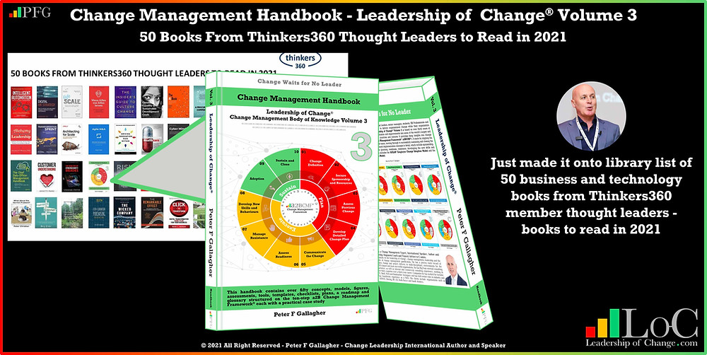 change management handbook, Peter F Gallagher, change management body of knowledge, change management books, leadership of change volume 3, change management expert speaker global thought leader, change management experts speakers global thought leaders, change management glossary, change management leadership, change management glossary, change management keynote speakers, business and technology books from Thinkers360,