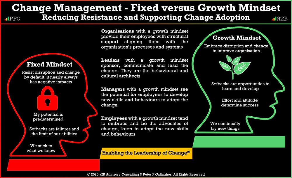 Change Management - Fixed Verses Growth Mindset Peter F Gallagher Change Management Expert Speaker and Global Though Leader, If you do not change the employee mindset and behaviour, you will not get organisational change, #LeadershipOfChange, a2BCMF, AUILM, a2B5R, a2B Consulting