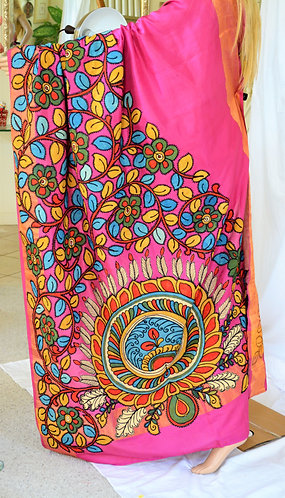 sIlk saree with KalamKari Patch work