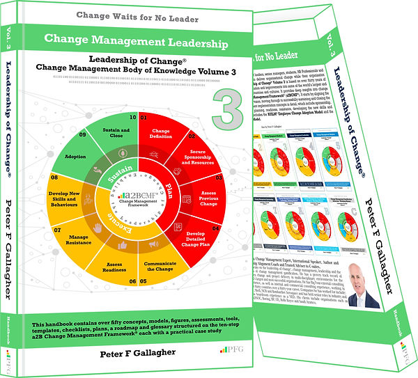 Change Management Handbook, Peter F Gallagher, Change Management Body of Knowledge, Leadership of Change® Volume 3, Change Management Book, Change Management Leadership, Change Management Books, Change Management speakers, includes 30 concepts models figures assessments tool templates checklist plans roadmap & change management glossary, Change Management Thought Leaders, Change Management Experts, Change Management speaker, Change Management Expert,