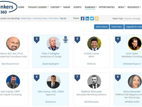 #2 Global Thought Leaders and Influencers on Business Strategy (1st Oct 2020)