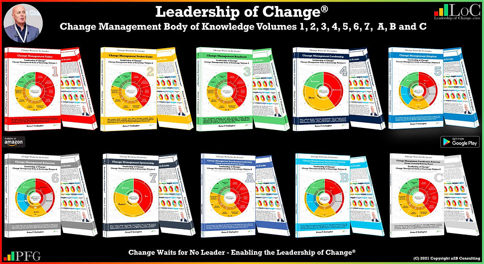 CMBoK, Change Management Body of Knowledge, Leadership of Change® Body of Knowledge, Peter F Gallagher, Change Management Books, Peter F Gallagher, Leadership of Change Volumes 1 2 3 A B C 4 5 6 7, Change Management Fables, Change Management Pocket Guide, Change Management Handbook, Change Management Gamification, Change Management Adoption, Change Management Behaviour, Change Management Leadership, Change Management Sponsorship, Change Management Speakers Experts Global Thought Leader,