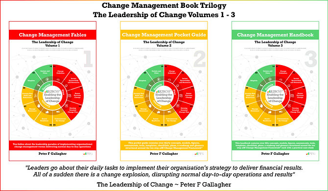The Leadership of Change Volumes 1 - 3 Trilogy, Change Management Fables, Change Management Pocket Guide, Change Management Handbook, #PFG, PFG Publications, #LeadershipOfChange, Peter F Gallagher Keynote Speaker, Peter F Gallagher Change Management Expert, Implementing organisational change management vs. delivering normal day to day operations, Enabling leadership of Change, Sarah L Gallagher, Change Management, Change Management Framework, Change Management Model, a2BCMF, AUILM, a2B5R, a2BBIS, [Author: Peter F Gallagher]