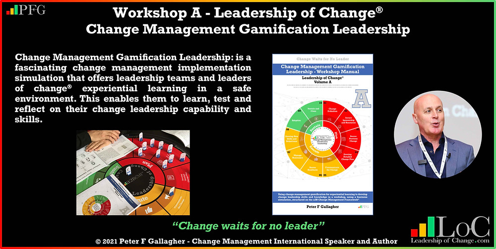 change management gamification leadership workshop, change management gamification peter f gallagher, we use gamification so that your leaders & employees can learn test and prepare for your organisational change peter f gallagher change, peter f gallagher change management expert speaker global thought leader, change manager handbook, change management adoption, change management leadership, change management behaviour,
