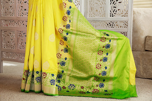 Lemon Yellow and Green double silk with Kadwa Butaas and Tilfi skirt