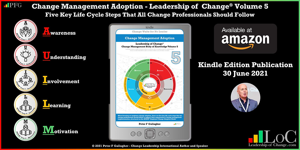 Change Management Adoption - Leadership of Change® Volume 5, Change Management Book, Peter F Gallagher Change Management Expert, five critical tasks that all change professionals should follow to support their organisation's change management implementation with a focus on employee adoption, structured on the a2B Change Management Framework