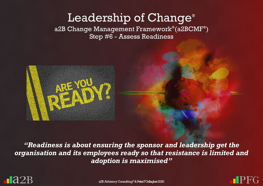 "Change Management Framework® (a2BCMF®) – Step 6 Assess Readiness ""Readiness is about ensuring the sponsor and leadership get the organisation and its employees ready so that resistance is limited, and adoption is maximised"" Peter F Gallagher Change Management Expert"