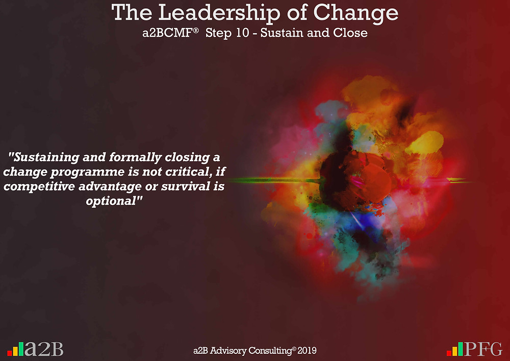 """Peter F Gallagher Change Expert, """"Sustaining and formally closing a change programme is not critical, if competitive advantage or survival is optional"""" ~ Peter F Gallagher, The Leadership of Change - Lessons Learned, Is there strategic fit with the change project? - Be very clear on how the change project fits within the organisation's strategy, portfolio and the leadership, #LeadershipOfChange, The leadership paradox - Implementing organisational change management vs. delivering normal day to day operations, Peter F Gallagher International Change Management Speaker,"""