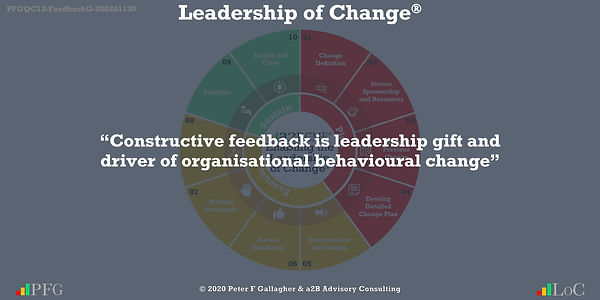 "Change Management Quotes, Change Management Quotes Peter F Gallagher, ""Constructive feedback is leadership gift and driver of organisational behavioural change"" ~ Peter F Gallagher Change, Change Management Quote, Peter F Gallagher Change Management Expert Speaker and Global Thought Leader,"