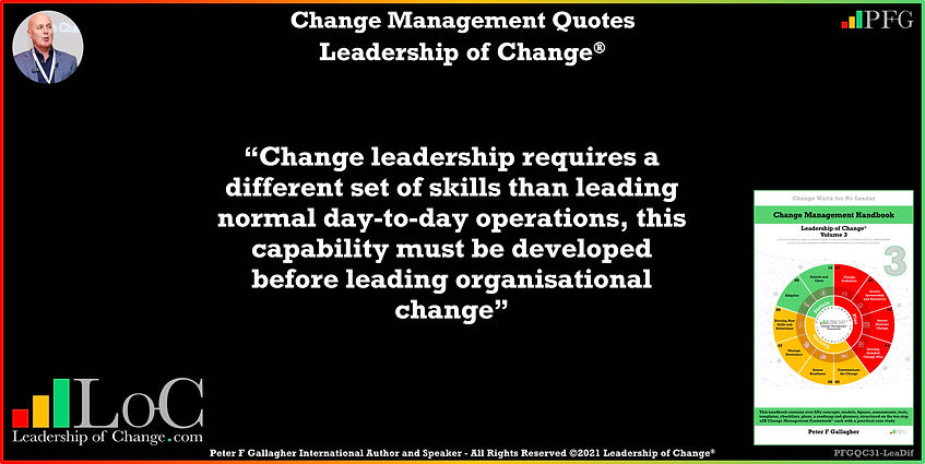 Change Management Quotes, Change Management Quote Peter F Gallagher, change leadership requires a different set of skills than leading normal day-to-day operations this capability must be developed before leading organisational change, Peter F Gallagher Change Management Experts Speakers Global Thought Leaders, change management handbook, change manager book, leadership of change,