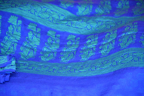 Royal Blue with green resam thread weaving chiffon Banarasi
