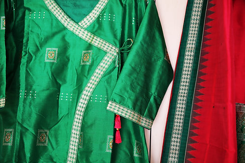 Green and wood rose Pink Samablpuri Bomkai silk Dress set