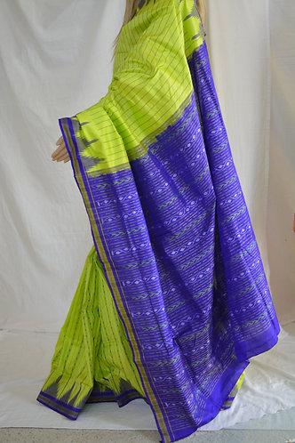 Odisha Sambalpri silk fluorescent green and blue