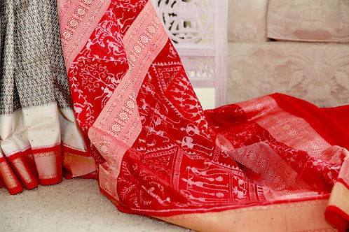 Gray,white and Red Baandha,an exclusive creation of master weaver