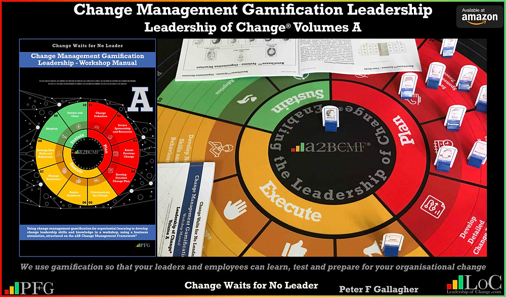 Develop Change Management Leadership Skills, change management gamification peter f gallagher, we use gamification so that your leaders & employees can learn test and prepare for your organisational change peter f gallagher change, peter f gallagher change management expert speaker & global thought leader, change manager handbook, change management adoption, change management leadership, change management behaviour,