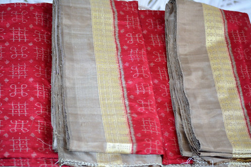 Maroon with Earth color border and Anchal bandha silk.A master weavar creation