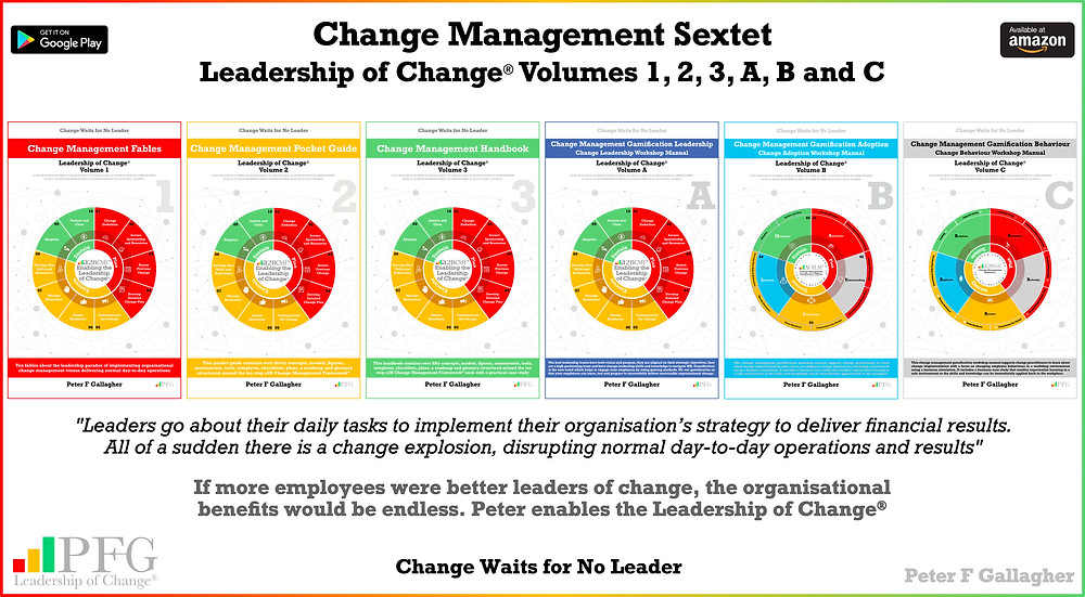 Change Management Book Sextet - Leadership of Change Volumes 1 2 3 A B & C, Change Management Fables, Change Management Pocket Guide, Change Management Handbook, Change Management Gamification Leadership Adoption Behaviours, #LeadershipOfChange, Peter F Gallagher Keynote Speaker, Peter F Gallagher Change Management Expert and Global Though Leader, Implementing organisational change management vs. delivering normal day to day operations, Enabling leadership of Change,