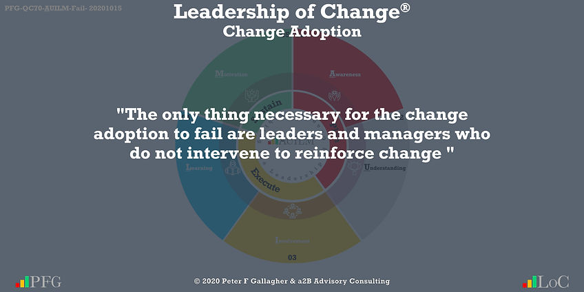 """The only thing necessary for the change adoption to fail are leaders and managers who do not intervene to reinforce change"" ~ Peter F Gallagher Change, Peter F Gallagher Change Management Expert Speaker and Global Thought Leader,"