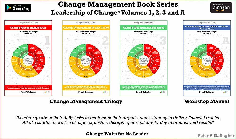 Change Management Book Series - Leadership of Change Volumes 1 – 3 & A, Change Management Fables, Change Management Pocket Guide, Change Management Handbook, Change Management Gamification Manual, Peter F Gallagher Change Management Thought Leader, Change Management Expert, #LeadershipOfChange, Peter F Gallagher Keynote Speaker,