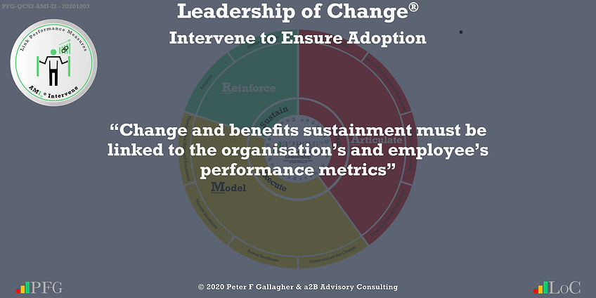"""Change Management Leadership Quotes, Change Management Quotes Peter F Gallagher, """"Change and benefits sustainment must be linked to the organisation's and employee's performance metrics"""" ~ Peter F Gallagher Change, Peter F Gallagher Change Management Expert Speaker and Global Thought Leader,"""
