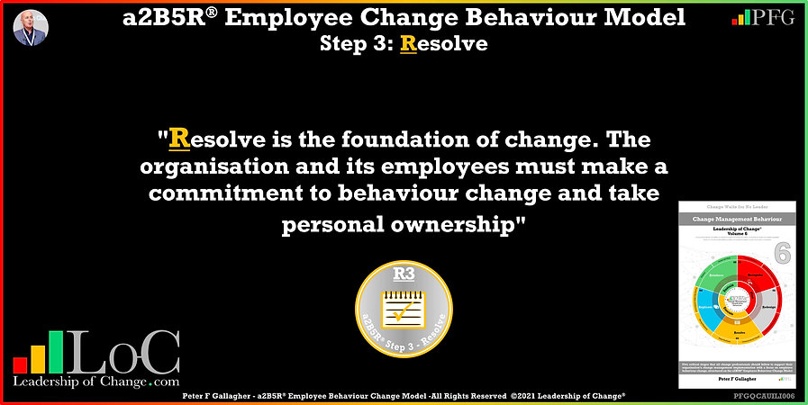 Change Management Behaviour Quotes, Change Management Quotes, Peter F Gallagher, Resolve is the foundation of change, Peter F Gallagher Change Management Experts, Peter F Gallagher Change Management Speakers, Peter F Gallagher Change Management Global Thought Leaders, change management behaviour book, Leadership of Change, Employee Behaviour Change,