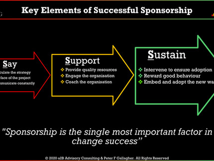 Change Management - Sponsorship is one of the Most Important Elements in any Change Journey