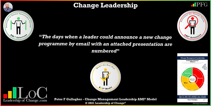 Change Management Leadership Quotes, Change Management Quotes Peter F Gallagher, The days when a leader could announce a new change programme by email with an attached presentation are numbered, change management experts speakers authors global thought leaders, leadership of change, change management quotes, change leadership, Change Management Leadership Handbook,