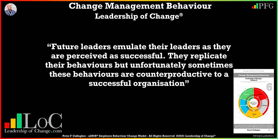Change Management Behaviour Quotes, Change Management Quotes, Peter F Gallagher, Future leaders emulate their leaders as they are perceived as successful, Peter F Gallagher Change Management Global Thought Leaders, change management behaviour book, Leadership of Change, Employee Behaviour Change, Change Management Expert Speaker thought leader,