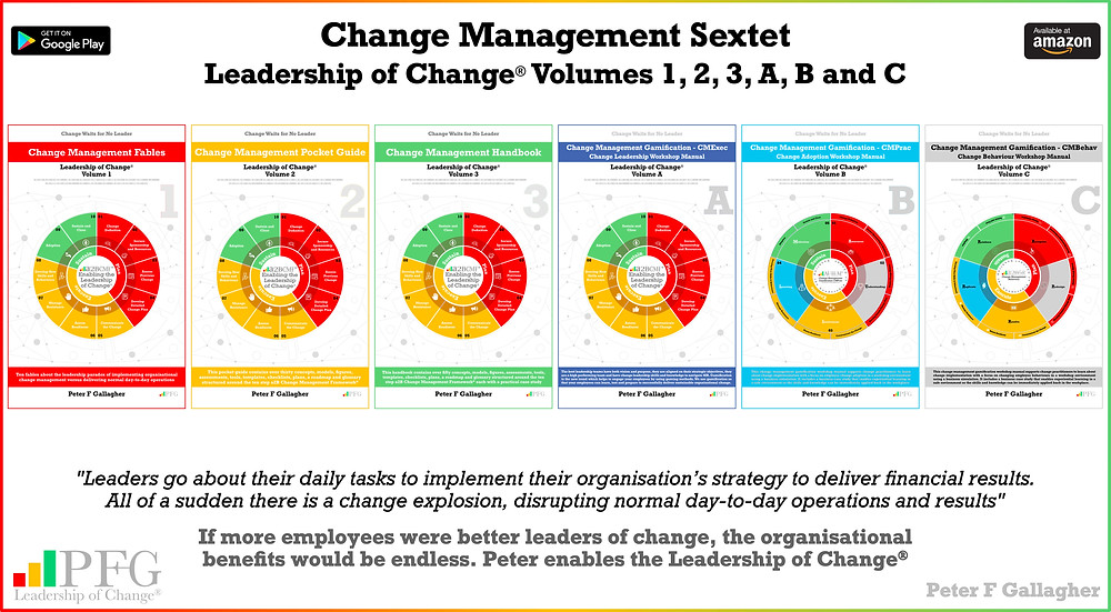 Change Management Book Sextet - Leadership of Change Volumes 1 2 3 A B & C, Change Management Fables, Change Management Pocket Guide, Change Management Handbook, Change Management Gamification CMExec CMPrac CMBehav, #LeadershipOfChange, Peter F Gallagher Keynote Speaker, Peter F Gallagher Change Management Expert, Implementing organisational change management vs. delivering normal day to day operations, Enabling leadership of Change,