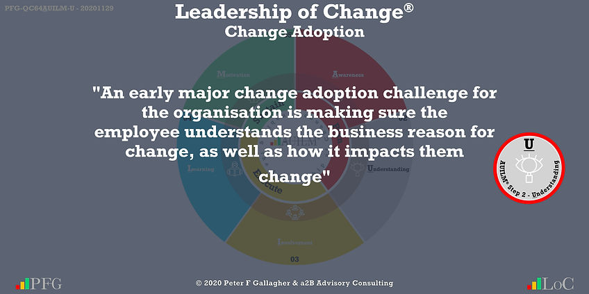 """Change Management Adoption Quotes, Change Management Quote Peter F Gallagher, """"An early major change adoption challenge for the organisation is making sure the employee understands the business reason for change, as well as how it impacts them"""" ~ Peter F Gallagher Change, Peter F Gallagher Change Management Expert Speaker and Global Thought Leader,"""