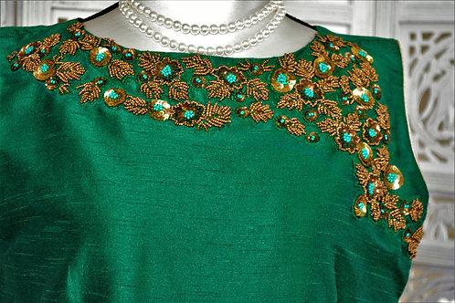 Designer Emerald Green Silk long dress with sequince