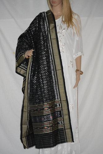Samalpuri bandha silk black with gray dupatta