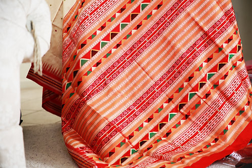 Beige Dongria Tribal design with Red Border and Anchal